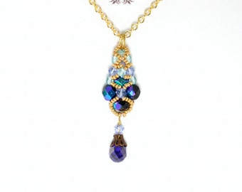 Sparkling Netted Crystal Necklace, Beadweaving, Crystal, Gold, Purple