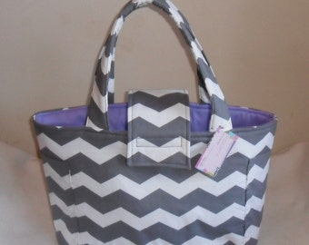 Large Gray and White Chevron and Lavender Diaper Bag Tote