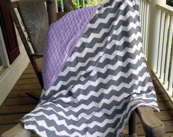 Large Gray Chevron and Lavender Minky Dot Blanket CHOICE OF MINKY