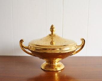 Large vintage gold porcelain lidded serving dish, Czechoslavakia