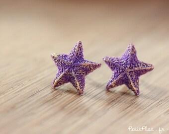 Starfish Post Earrings / Studs - Purple & Gold