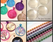 10 Pack Pendant Kit  Colored Bezels + Glass Domes + Ball Chains Necklaces 25mm Round White