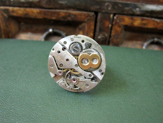 Steampunk Ring, Statement Ring, Cocktail Ring,  Women's Steampunk,  Infinity Ring, Number 8, Edwardian Ring, Unisex, Upcycled Ring,  Bold