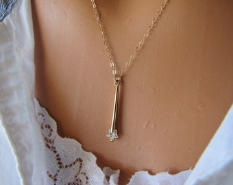 Shooting Star Necklace Make A Wish Crystal Pendant 14K Gold Fill Or Sterling Silver Jewelry
