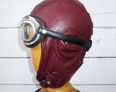 Leather Aviator Hat Retro in Burgundy Color