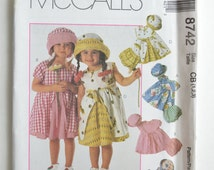 1990s UNCUT McCall's Cozy Togs Sewing Pattern 8742 Toddler Girls Gathered Skirt Dress, Sun Hat & Bloomer Panties Size 1-2-3