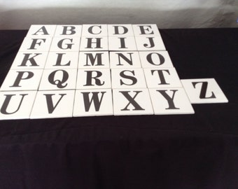 4 1/4 by 4 1/4  Letters. A Thru Z   Letters are fired on and will not wear off