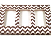 Triple Rocker Light Switch Cover Wall Decor Switchplate Switch Plate in  Gray Chevron  (154TR)