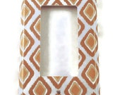 Rocker Light Switch Cover   Wall Decor Switchplate  Decorative Switch Plate in Tan Ikat  (210R)