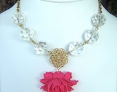 Juliette Drama Rose and Crystals Fuschia Statement Necklace Bridal Wedding Jewelry