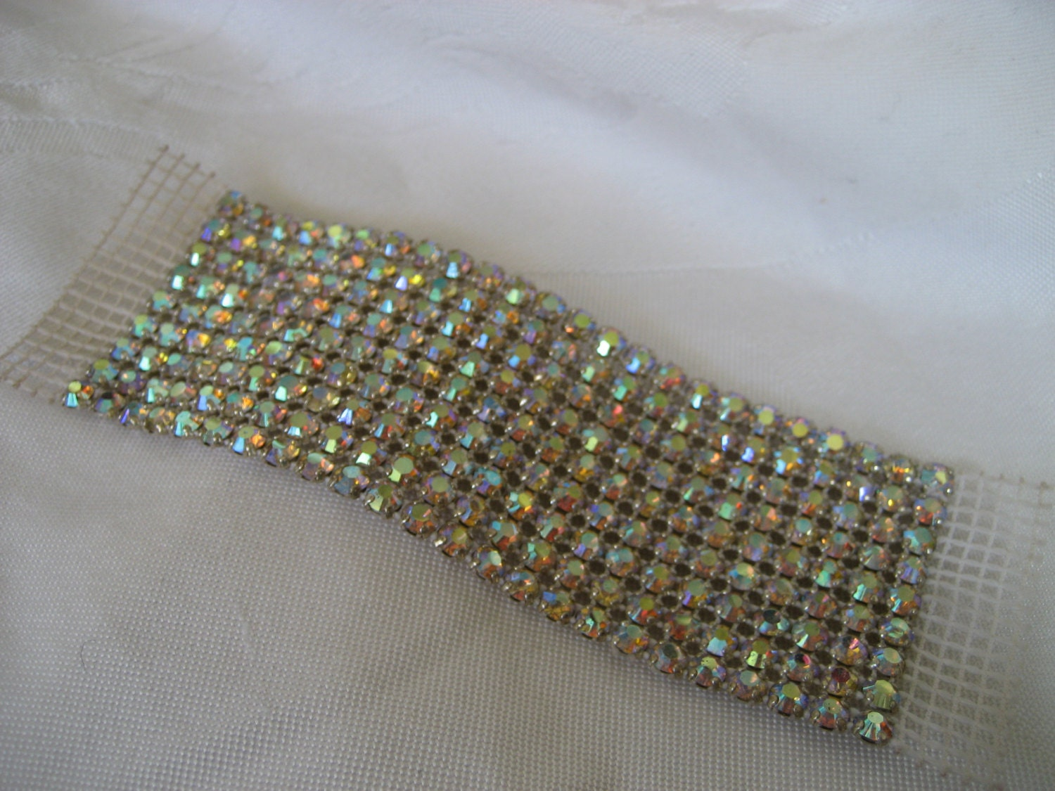 vintage iridescent rhinestone glass netted mesh jewelry by