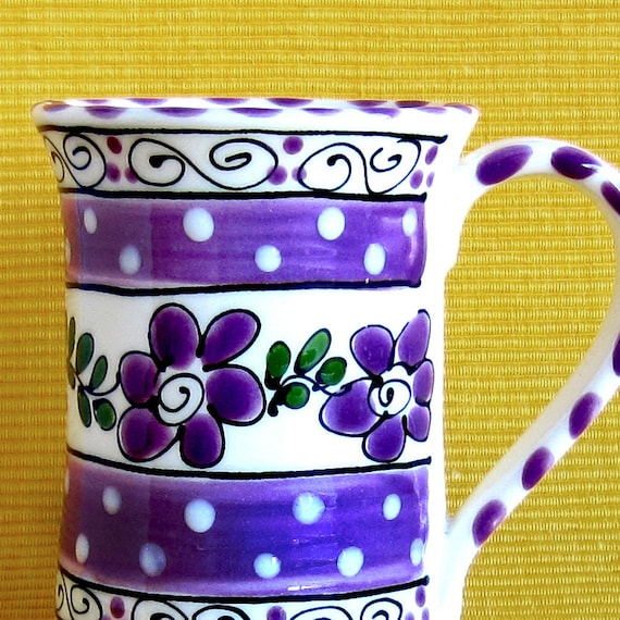 Colorful Purple Flowered Mug
