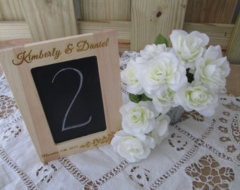 Rustic Wooden Personalized Framed Chalkboard for Signs or Table Numbers - Item 1609