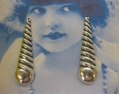 Silver Ox Plated Large Long Twisted Drops 2259SOX  x2