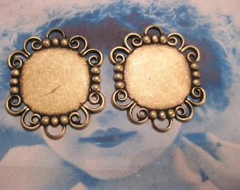 Brass Ox Plated Lace Edge Settings Charms 224BOX x4