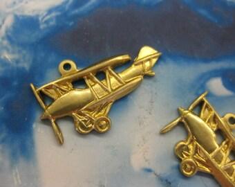 Raw Brass Retro Airplane Charms 556RAW x2
