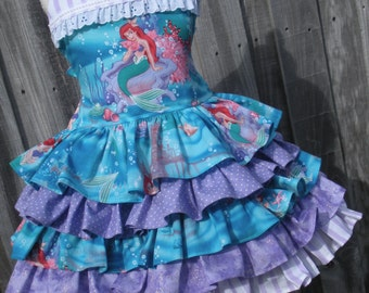 Made to Order Custom Boutique Little Mermaid Ariel Ruffle dress Girl Size 2 3 4 5 6 7 8