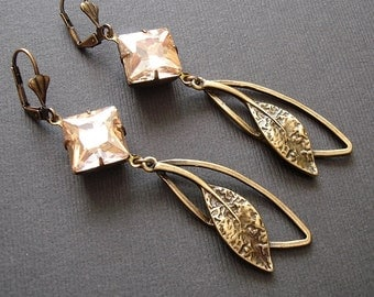 Vintage Golden Peach  Crystal and Antiqued Brass Leaf Earrings.