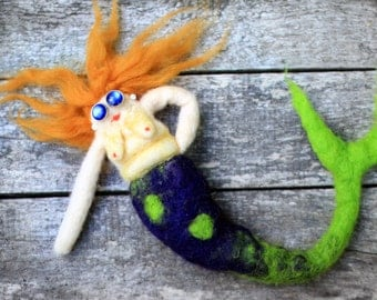 Natural redhead mermaid needle felted art doll
