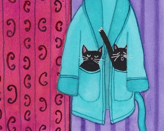 Black cats enjoy plush robe / Lynch signed folk art print