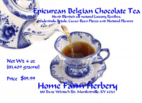 Epicurean Belgian Chocolate Tea  has a velvety chocolate smoothness with decadent notes of truffle melting in your mouth. Order now!