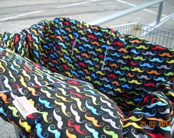 Shopping Cart cover for boy or girl.....Geekly Mustache in Black