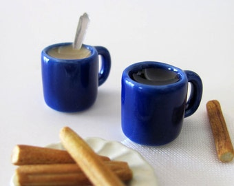 Miniature COFFEE Mixed Pair in Cobalt Blue Mugs - One with Cream with Spoon & One Black - 1:6 Scale Polymer Clay Faux Food for Fashion Dolls
