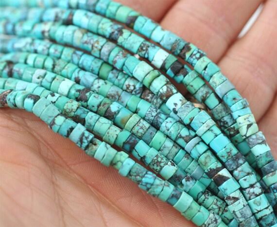 "Turquoise heishi beads, natural untreated Turquoise, full strand 16"" genuine turquoise stones, 5mm heishi beads, aqua blue stone beads 5 mm"