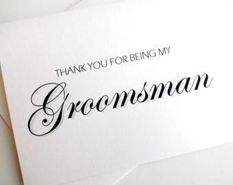 Groomsman Card - Groomsman Wedding Card - Thank You Groomsman Card