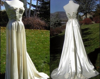 Vintage 50s Strapless Satin Bombshell Wedding Gown XS XXS - Rescued Treasure TLC
