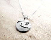 Tiny Oklahoma necklace, silver state jewelry map pendant