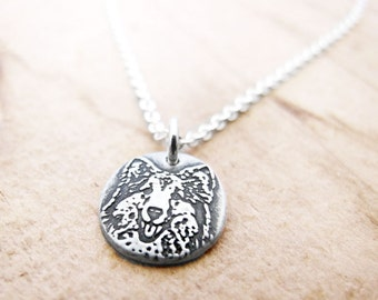 Tiny Sheltie necklace, silver Collie necklace, pet memorial jewelry, remembrance necklace