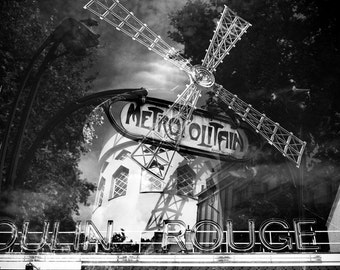 Metro Rouge - 5x5 Matted Black & White Photograph -- large mat edition