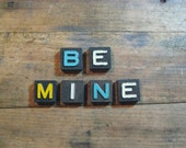 BE MINE Vintage Wood Anagram Game Pieces, Gifts under 10, Gifts for Her, Vintage Valentines Day Gift, Inspirational, Retro Home Decor