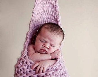 Multi-Use Hanging Cocoon Sling Stork Pouch Knitting Pattern in 3 Sizes, PDF 102 -- Also easy to use as a wrap to form a pod!