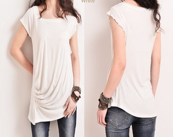 Ripple – draping asymmetrical tunic T-shirt modal cotton (Y5115)