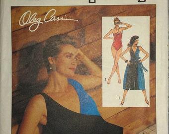 Vintage 80s Color Block Surplice Strapless Keyhole Halter Swimsuit Swim Suit Bathing Suit Coverup Oleg Cassini Sewing Pattern 6884 6 8 10