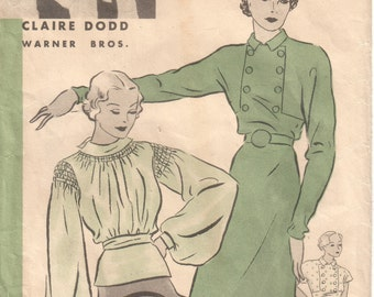 Vintage 30s Art Deco GLAM Bishop Sleeve Shirred Cap Sleeve Button Trimmed Peplum Tunic Blouse Top REPRO Sewing Pattern Hollywood 982