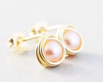 Pearl Studs, Pink Pearl Posts, June Birthstone, Bridesmaid Gift, Pink studs