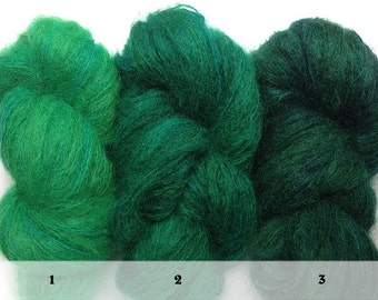 Hand-painted OOAK luxury mohair-blend yarn, set of 3 skeins in Emerald Sequence (greens, deep greens, subtle blues), May's birthstone