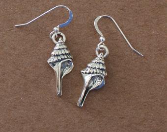 Earrings - Sterling Silver SEA SHELL - Beach, Seashore