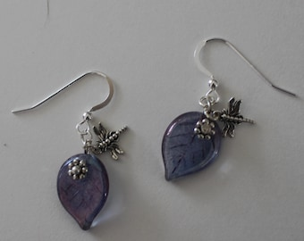 Sterling Silver DRAGONFLY ON LEAF Earrings -