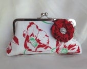 VINTAGE POPPY bridesmaid clutch with rosette and 1930s feedsack red silk add on photo lining personalization