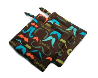 Quilted  Pot holders Set of 2 Moustaches Brown