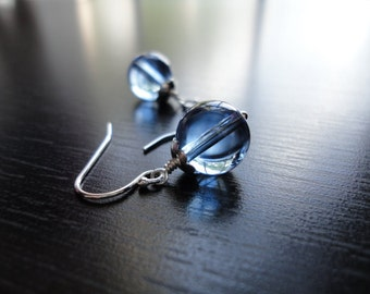 Blue Glass, Round, Ball. Sky Earrings by Anastassia Designs on Etsy