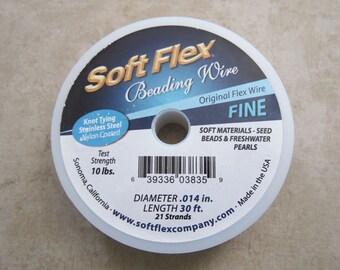 Original Satin Silver Soft Flex 21 Strand Fine Beading Wire .014 inch Diameter 30ft.