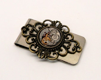 Steampunk jewlry money clip with vintage watch.