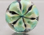 Lapel pin - Floating Flower  - cream and transparent green - lampwork glass by Jennie Yip