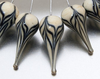 Glass Head pins - Chevron teardrop (1) - ivory and black on sterling silver wire. Lampwork  by Jennie Yip