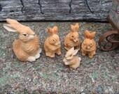 RESERVED for bonneydog  ~~~  5  hand carved wooden rabbits